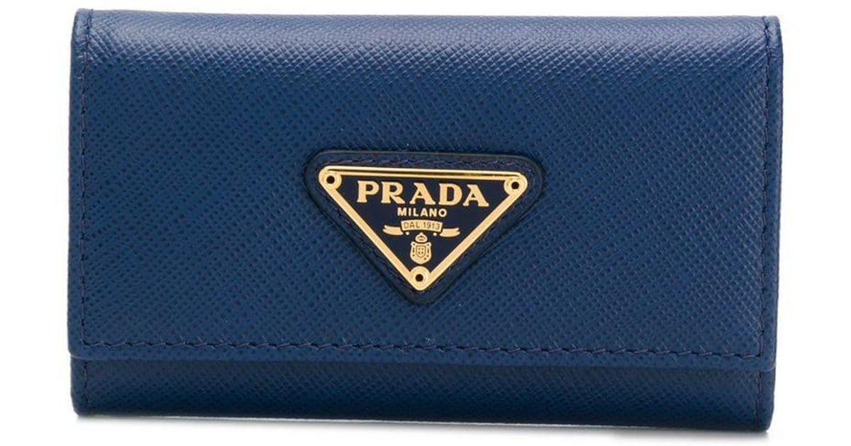 ca4b558ed9fd Prada Logo Plaque Key Wallet in Blue - Lyst