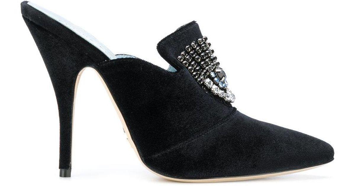 c5561304bc0e Chiara Ferragni Logomania Heeled Mules in Black - Lyst
