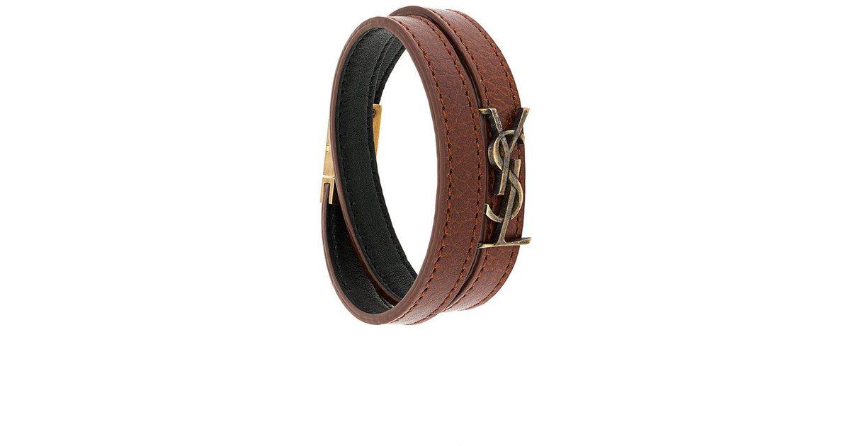 12a3eb209c2 Saint Laurent Ysl Double Wrap Bracelet in Brown - Lyst