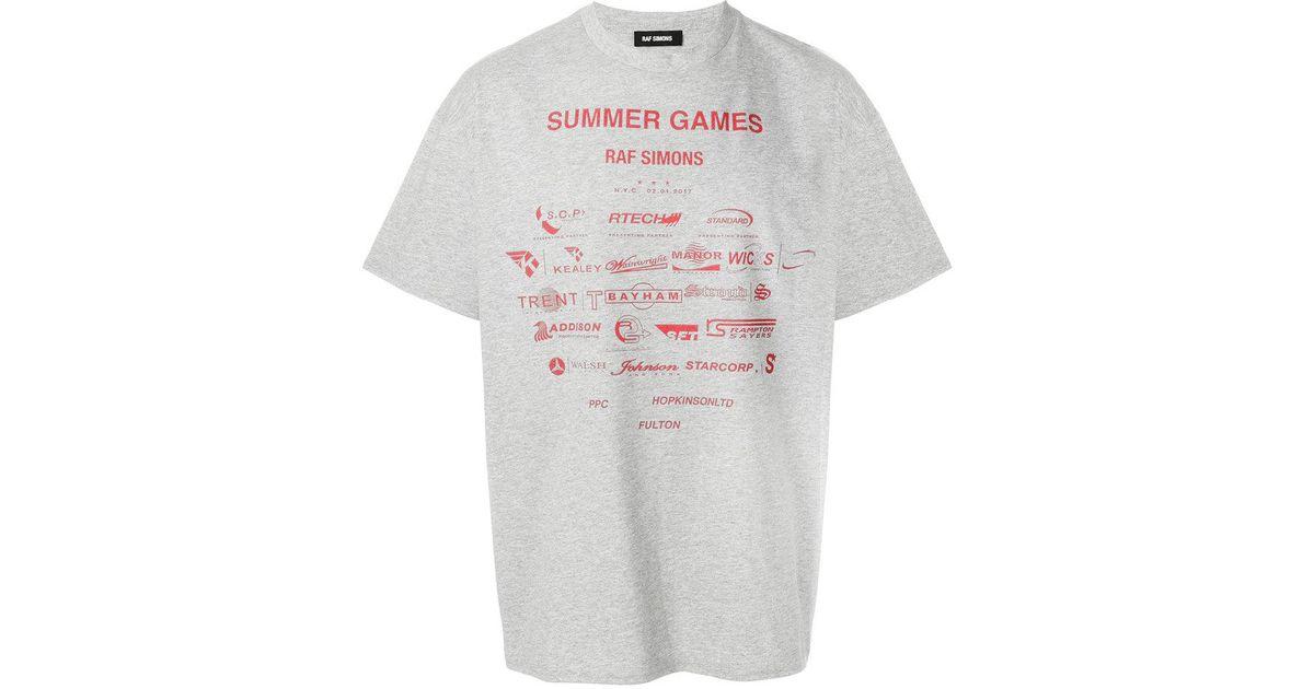 bc2349f5fef Lyst - Raf Simons Sponsor Print T-shirt in Gray for Men