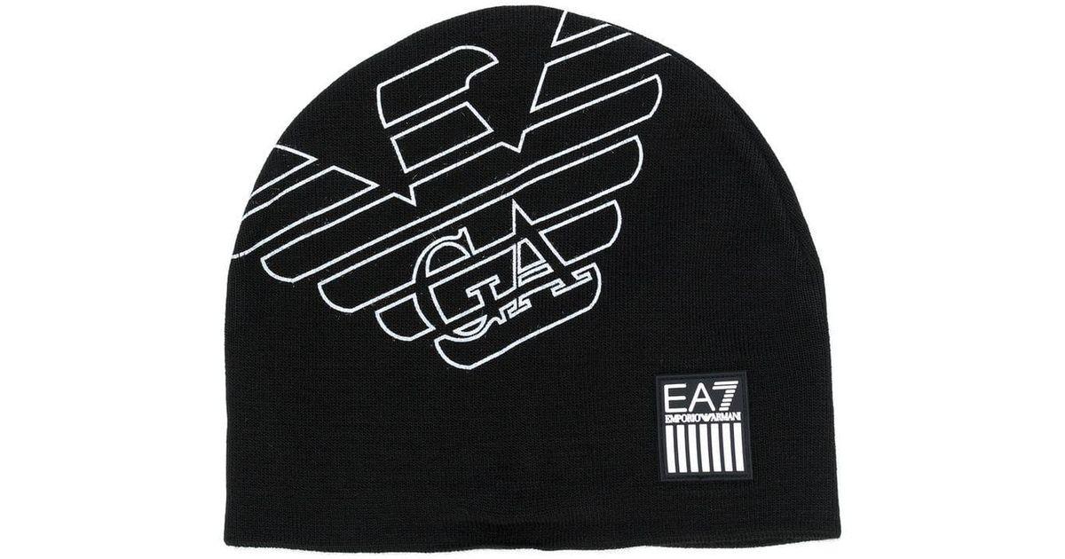 ... san francisco 5f50b 221d0 Ea7 Logo Knit Cap in Black for Men - Lyst ... 755918bfc239