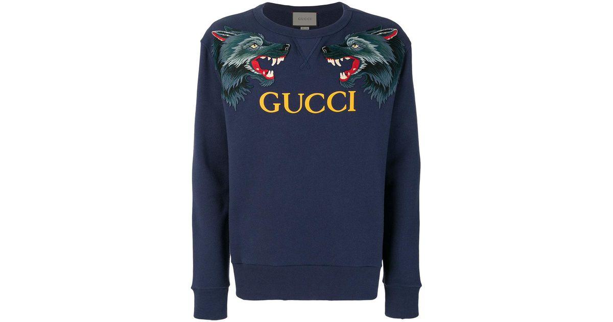 2bd2e1b77a17 Gucci Wolf Head Appliqué Sweatshirt in Blue for Men - Lyst