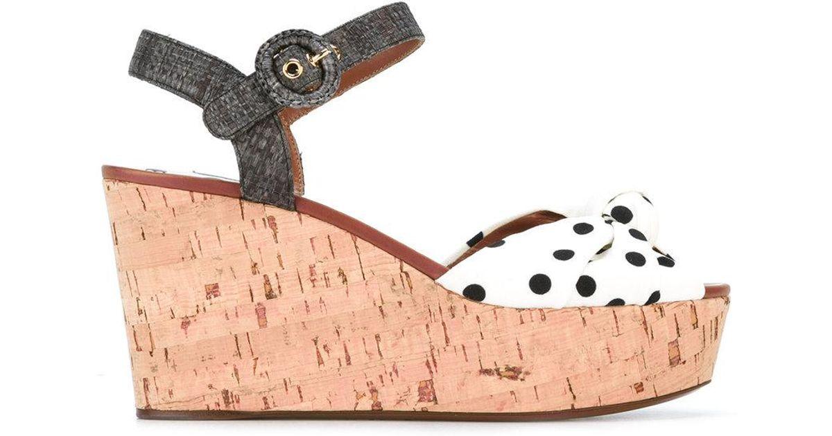 47e039fced Dolce & Gabbana Polka Dot Wedge Sandals in White - Lyst