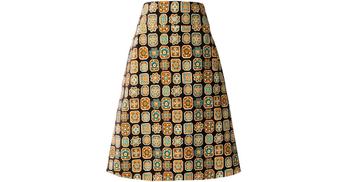 Lyst - La doublej editions A-line Piastrelle Skirt in Brown
