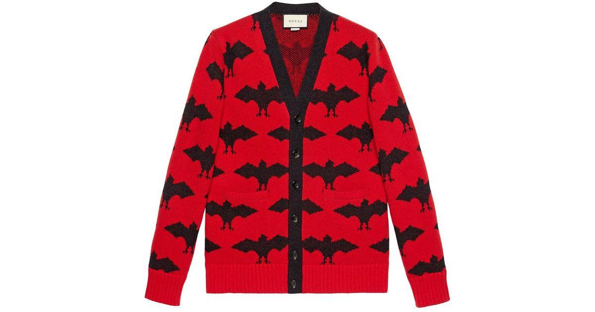 Gucci Cardigan Con Pipistrelli in Red for Men - Lyst 549c02d318a8
