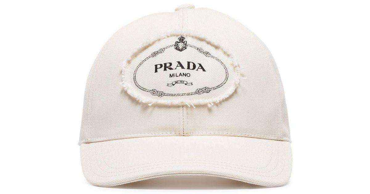 d52318faef6 Prada White And Black Logo Print Applique Cotton Cap in White for Men - Lyst