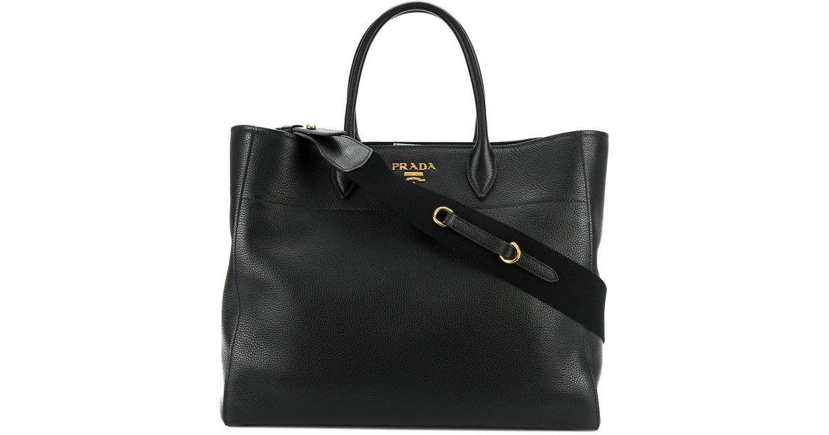 e49dd95bb2a4 closeout prada classic bag 54b18 8a0f8  official store lyst prada classic  shopper tote in black 84e26 c0962