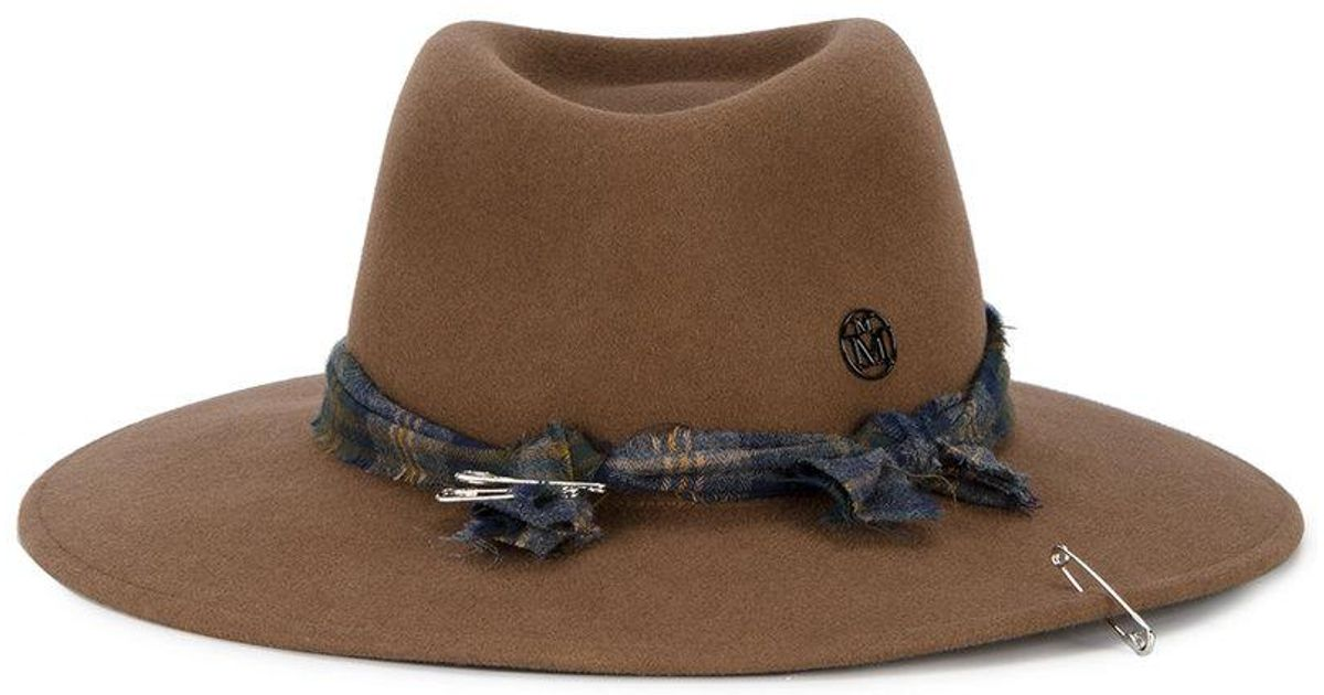 0c7f5c145 Maison Michel - Brown Pierre Ribbon Hat With Safety Pin - Lyst