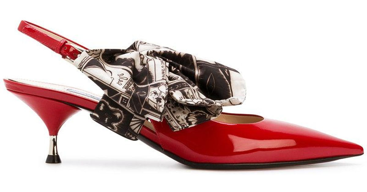 88e5cf24a94 Lyst - Prada Bow-embellished Pumps in Red