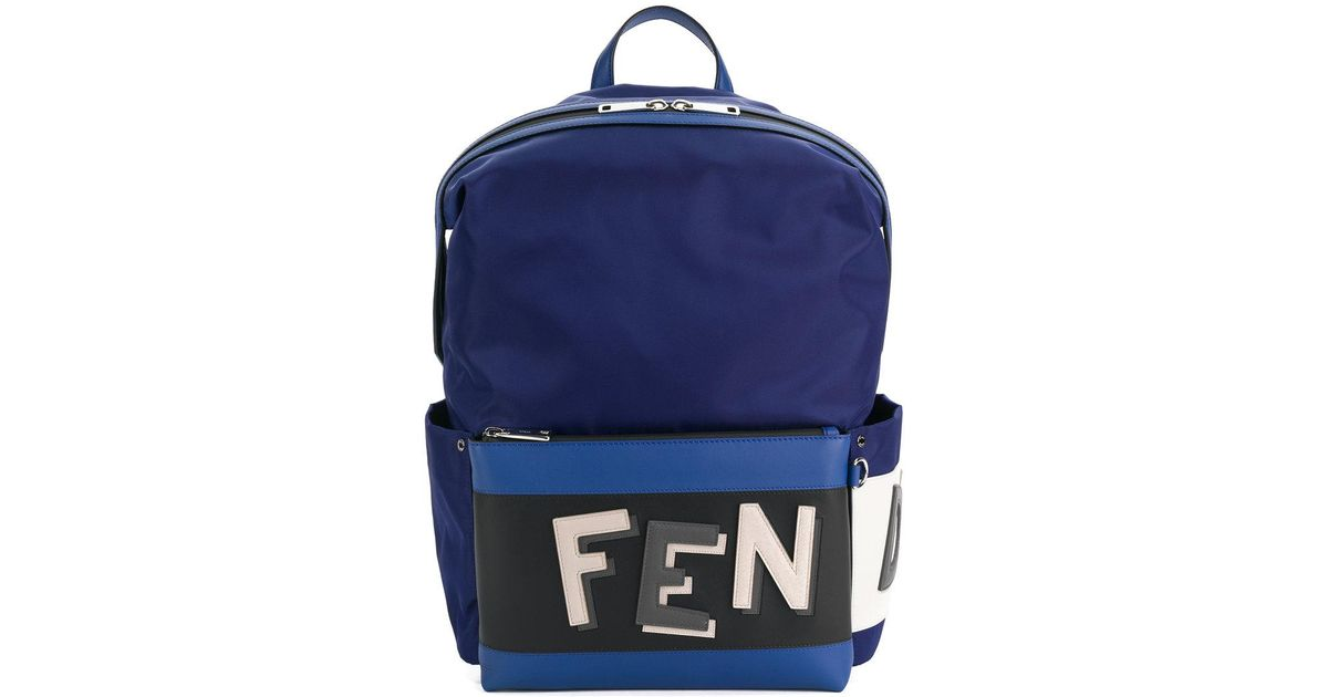 Buy Cheap Pay With Paypal logo embroidered backpack - Blue Fendi Cheap Buy Free Shipping Affordable Bnumb