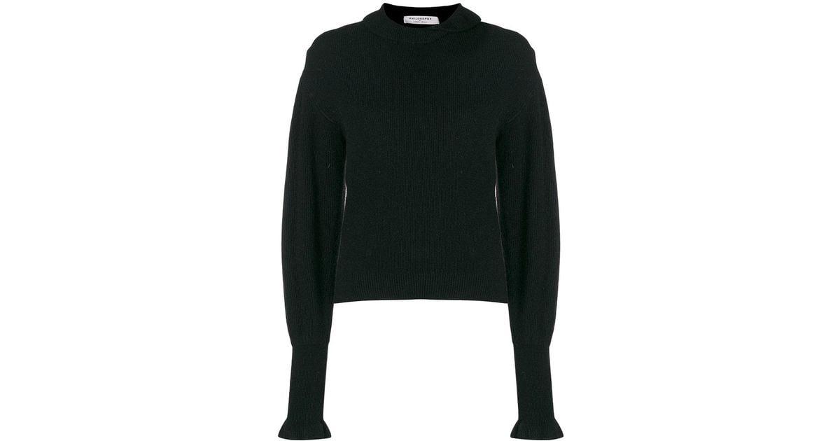 Sweater Di Collar Black Lorenzo In Serafini Lyst Fold Philosophy Oq4xYwF