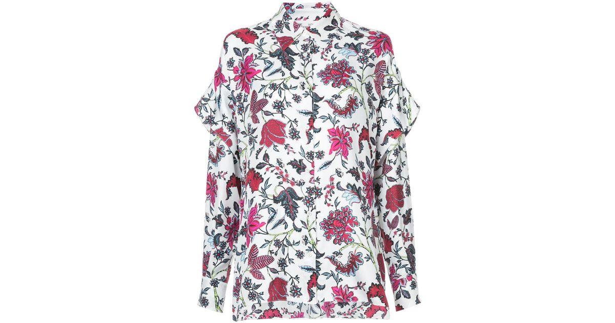 a84697e3af557 Lyst - Diane von Furstenberg Canton Print Shirt in White