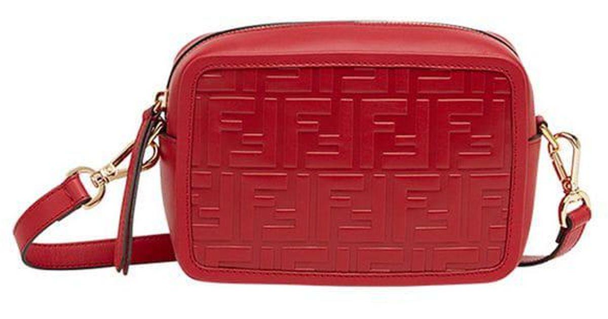 7e6e409bfbcd Fendi Red Mini Camera Case Cross Body Bag in Red - Lyst