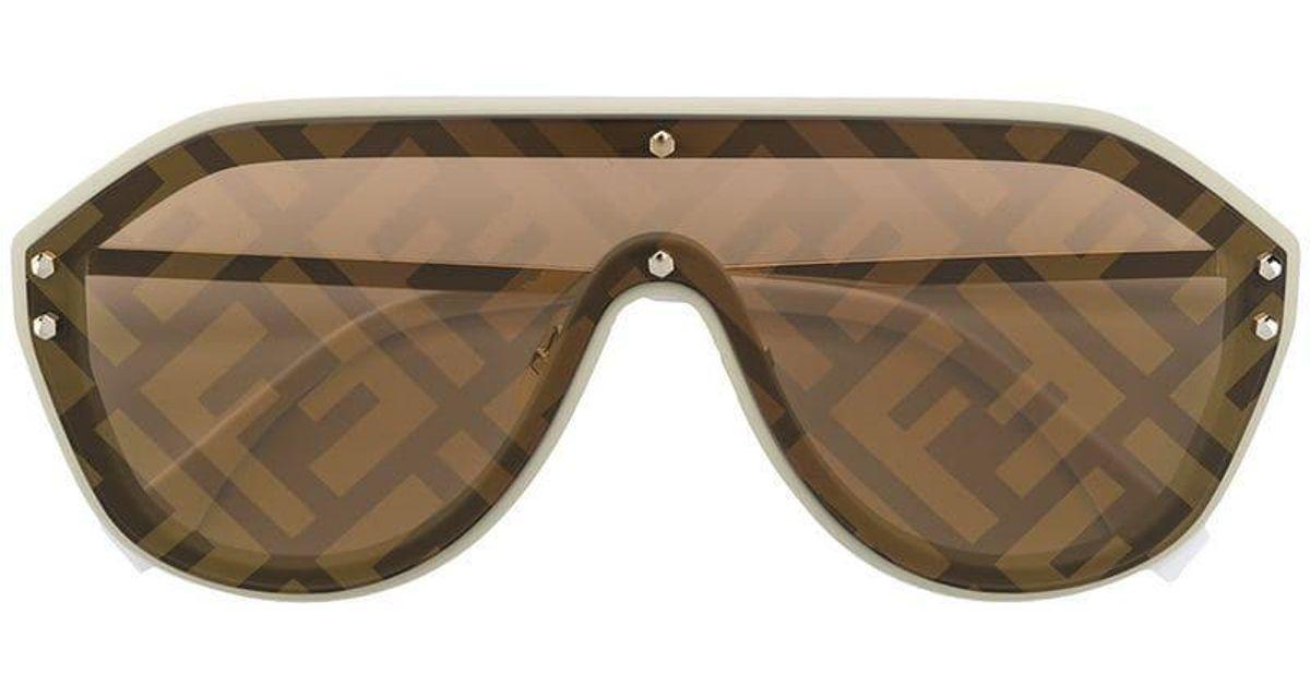 3245abaf5 Fendi Aviator Ff Print Sunglasses in Metallic - Lyst