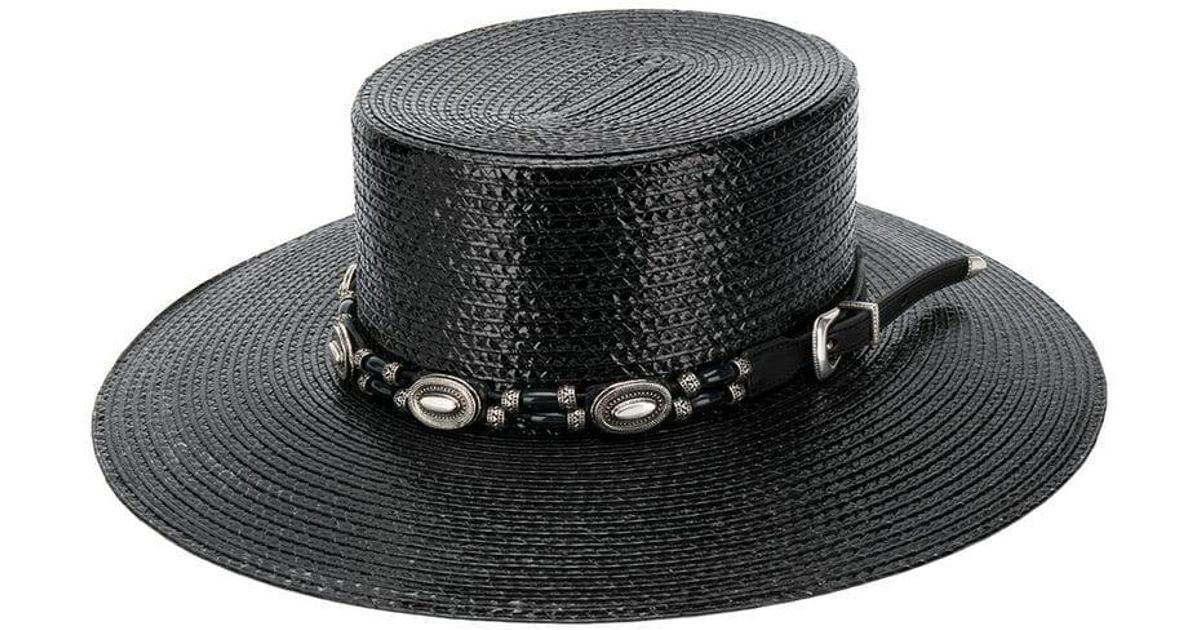 Laurent In Black Lyst Saint Large Boater Hat QrsdtChx