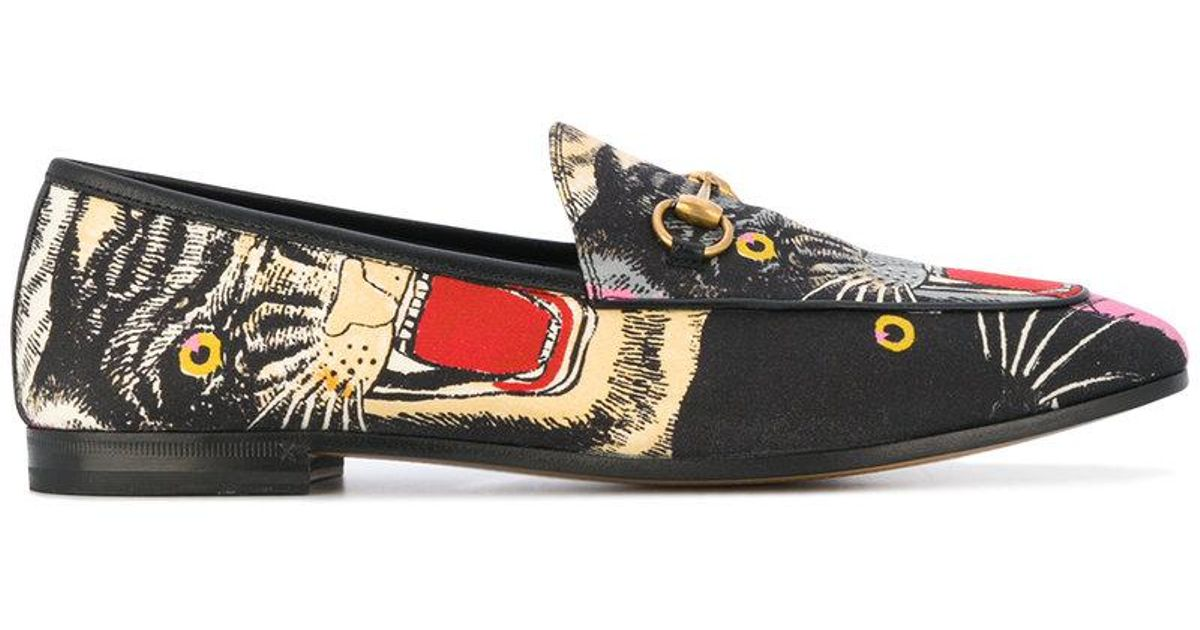 a471a94a358 Lyst - Gucci Angry Cat Printed Loafers