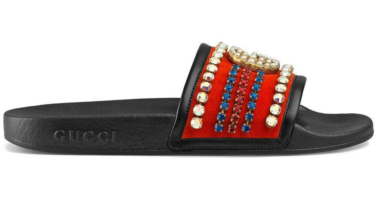 ca6fca6f518a Lyst - Gucci Velvet Slide Sandal With Crystals in Red