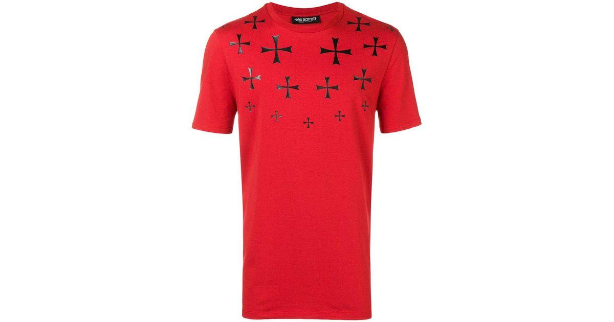 cross motif T-shirt - Red Neil Barrett Cheap Sale Low Price Cheap Get Authentic 22MqQ4