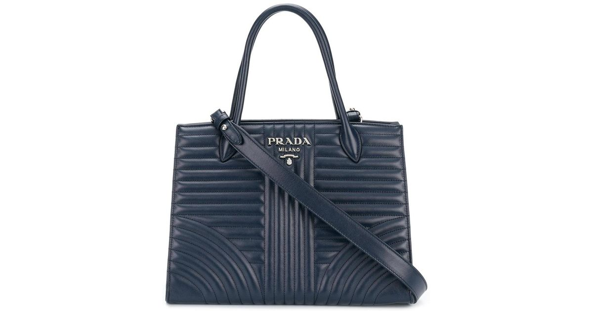 60d3f536a9f9a6 Prada Diagramme Tote Bag in Blue - Lyst