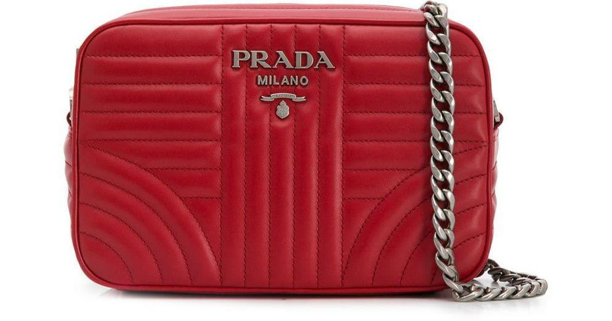 5cace589afad Prada Quilted-effect Shoulder Bag in Red - Lyst