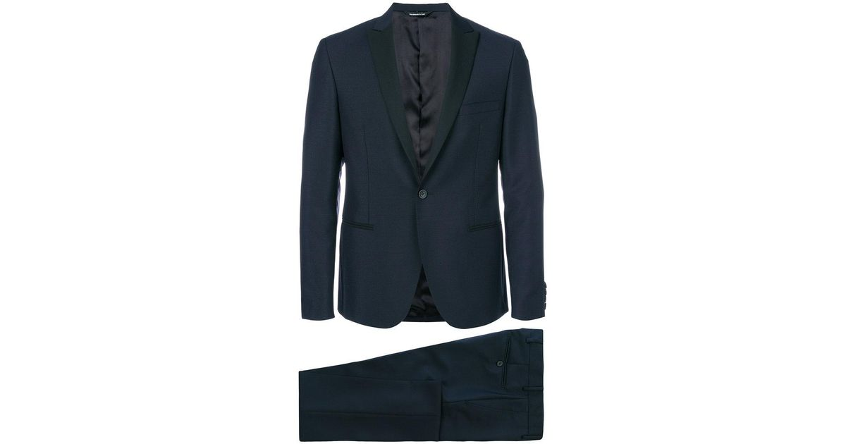 Lyst tonello slim fit dinner suit in blue for men for Dinner shirts slim fit