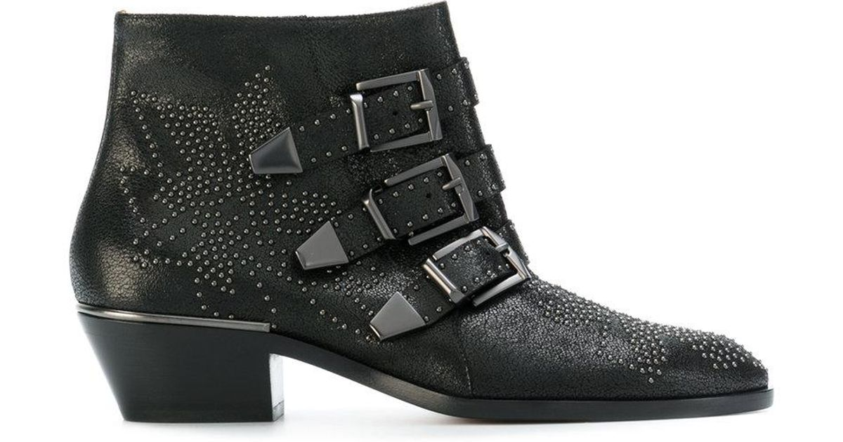 1b6ea75a1 Chloé Susanna Studded Leather Ankle Boots in Black - Save 17% - Lyst