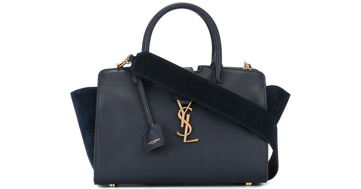e2c9864c6cf4 Lyst - Saint Laurent Baby Monogram Downtown Cabas Ysl Bag in Blue
