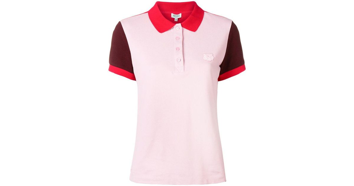 df6671cc Lyst - KENZO Embroidered Tiger Logo Polo Shirt in Pink
