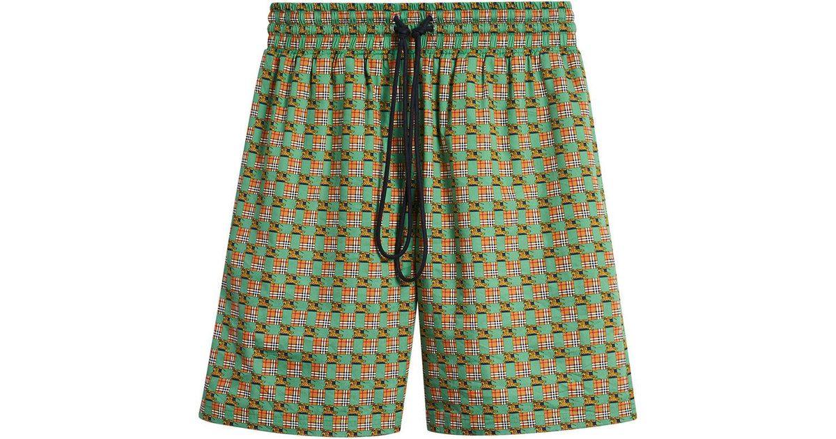 Equestrian Check Print Cotton Drawcord Shorts - Green Burberry vaaXUB0jX