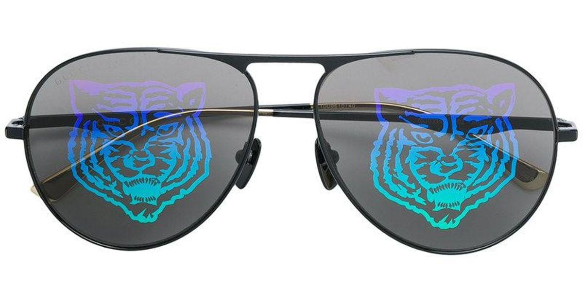 0c7ebc8757d Gucci Lion Lenses Detail Sunglases in Black for Men - Lyst