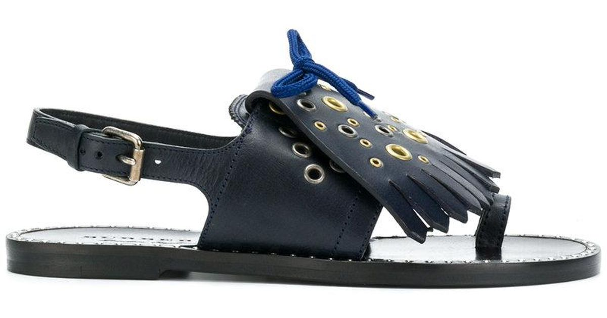 14aee376958a Lyst - Burberry Kiltie Fringe Sandals in Blue