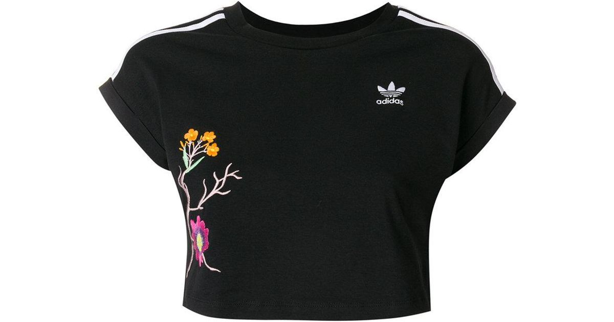 836dde57 adidas Graphic Cropped Tee in Black - Lyst