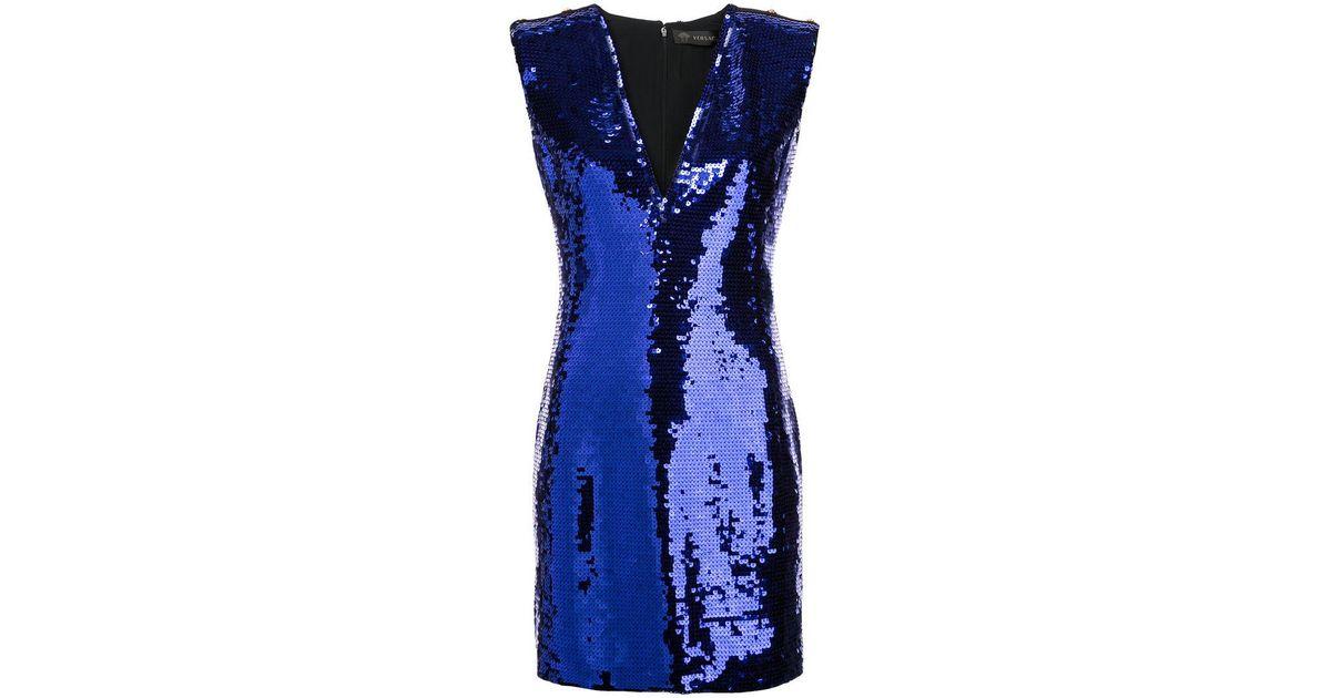 db15229a1da Versace Sequin Mini Dress in Blue - Lyst