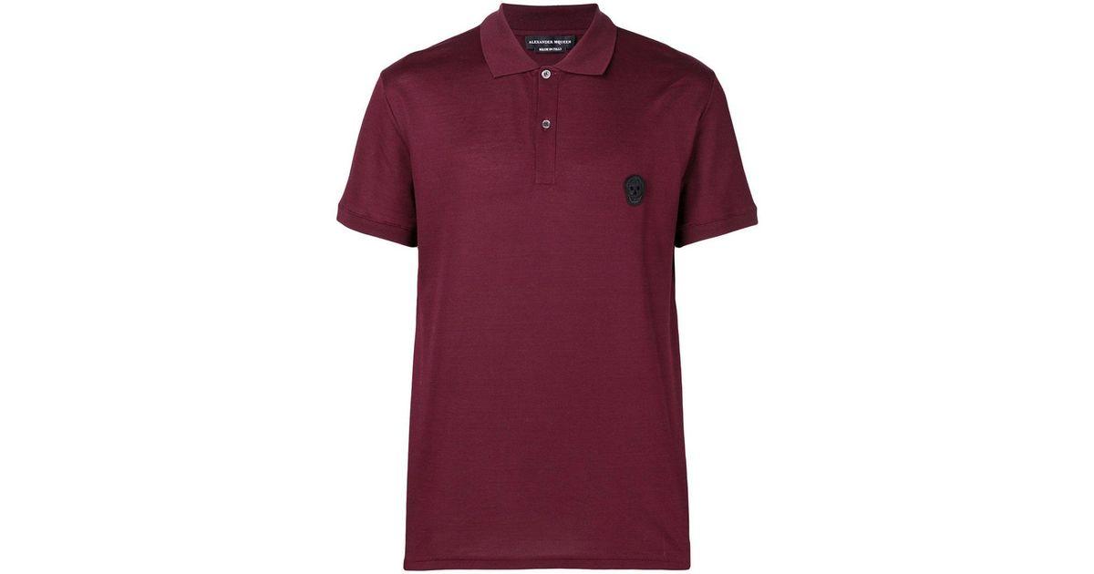 Alexander Mcqueen Skull Logo Polo Shirt In Red For Men Lyst