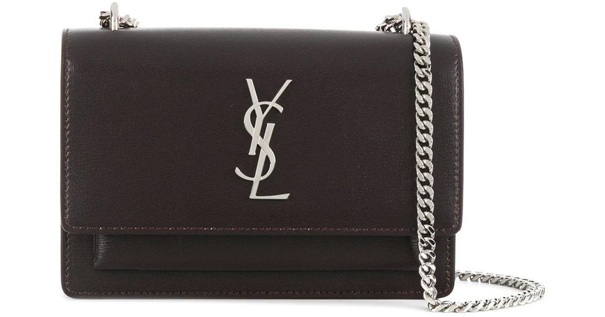 3868daeddf9 Lyst - Saint Laurent Sunset Chain Wallet in Brown