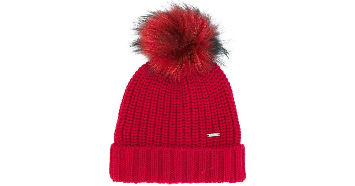 1b6f3801638 Lyst - Woolrich Pom Pom Knitted Hat in Red