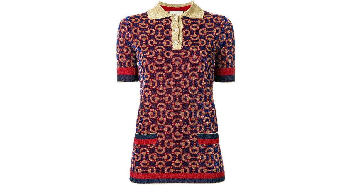38470dac1 Gucci Knitted Jacquard Polo Shirt in Red - Lyst