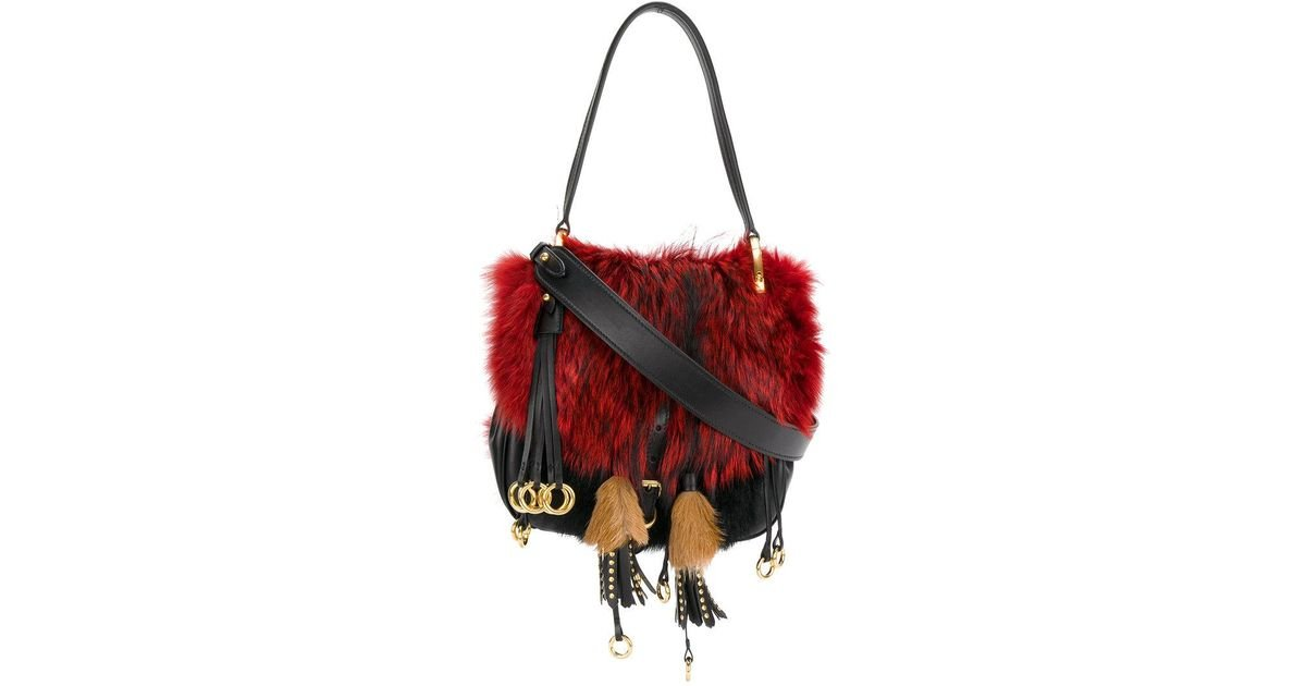 87b53d7d9 Prada Corsaire Fox Fur Shoulder Bag in Black - Lyst