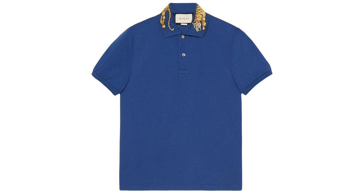 b83d0f679 Gucci Cotton Polo With Tiger Embroidery in Blue for Men - Lyst