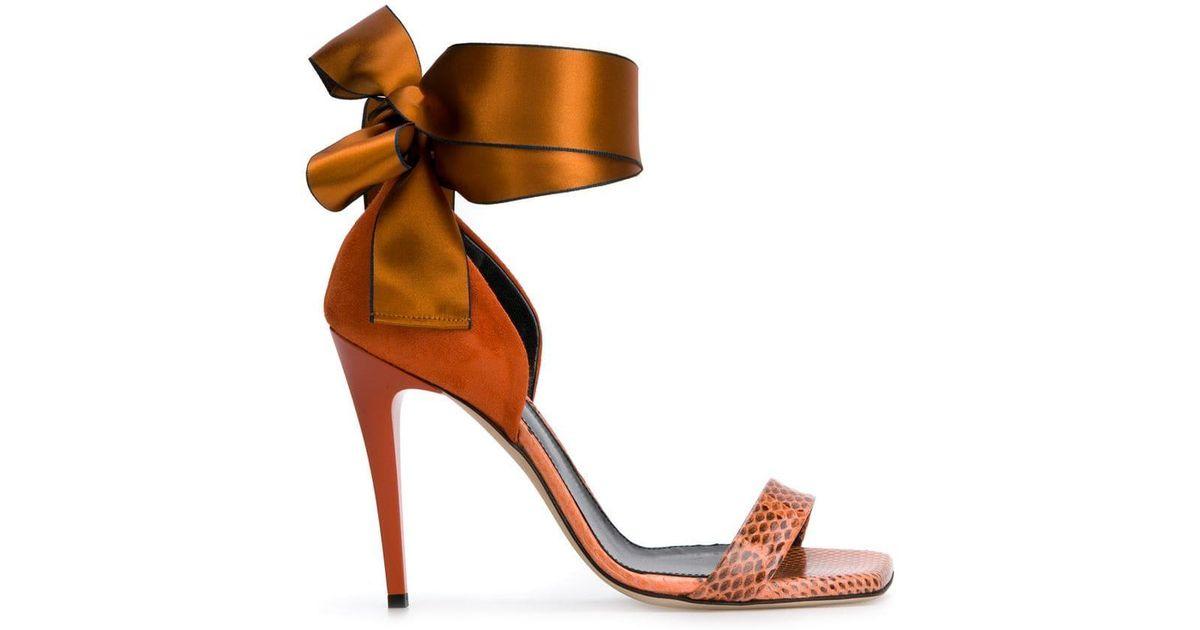 92964724f Lanvin Bow Tie Sandals in Orange - Lyst