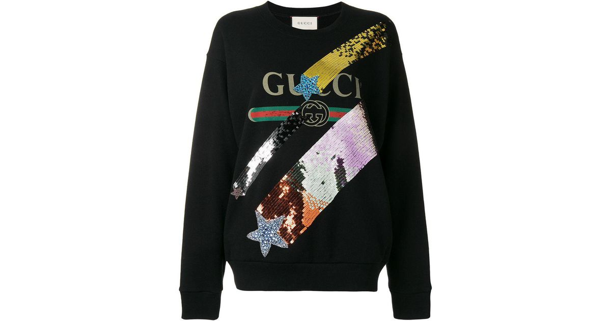 697ea8d63adf Lyst - Gucci Oversize Felted Cotton Sweatshirt W  Shooting Star Patch in  Black