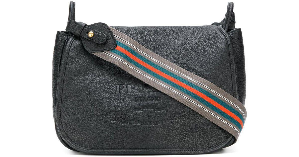 1da3458a3c Lyst - Prada Logo Embossed Shoulder Bag in Black