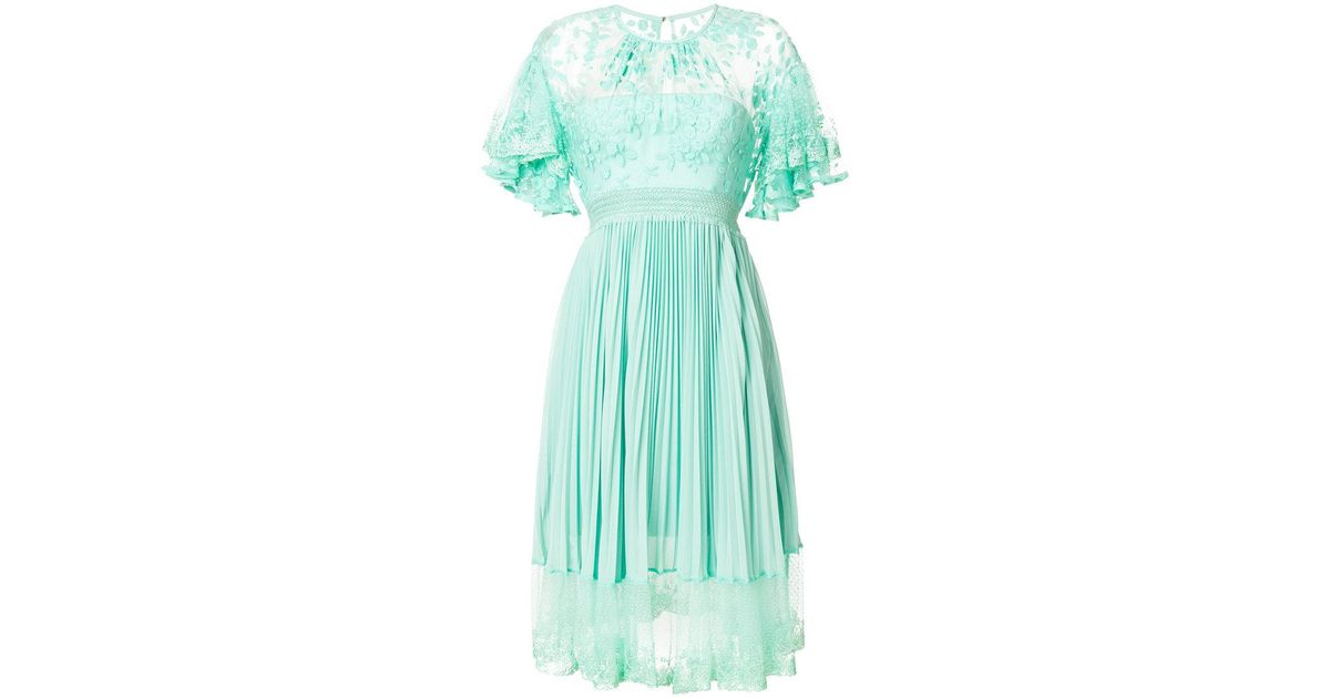 Haze pleat and lace dress - Green Three Floor 4loBWJOS3z