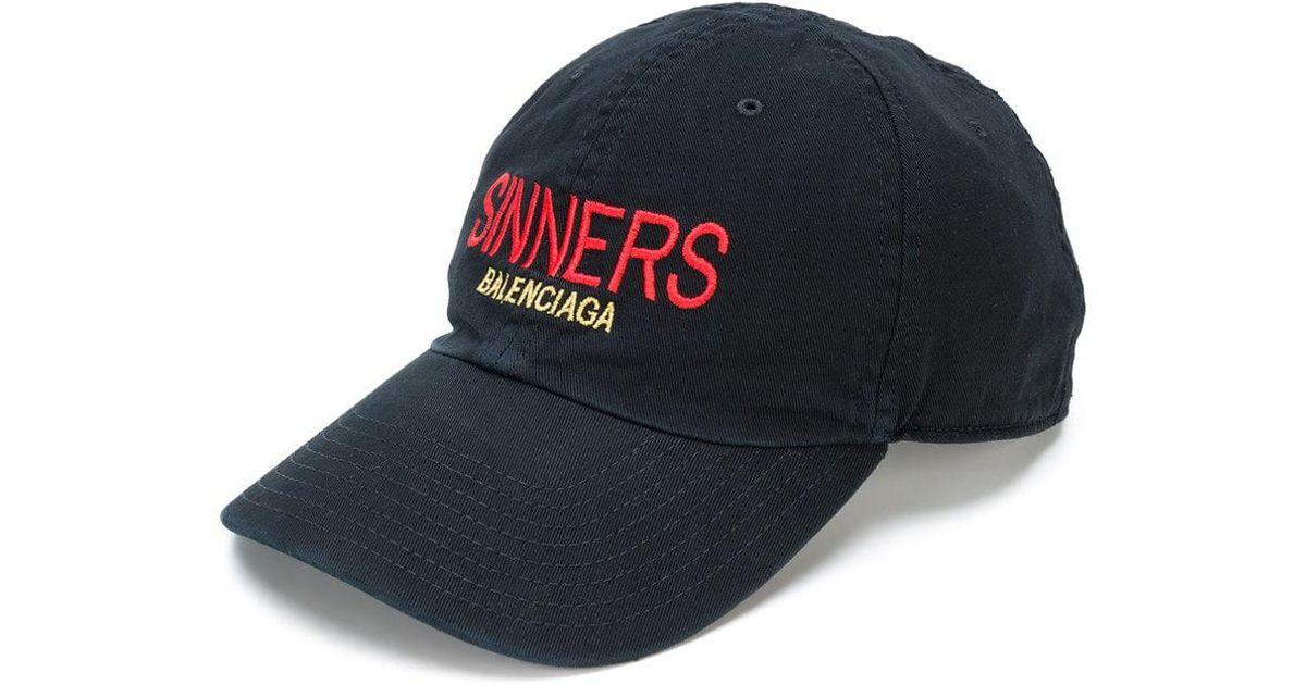 c9f8f52e06a7f Balenciaga Black Sinners Baseball Cap in Black for Men - Lyst