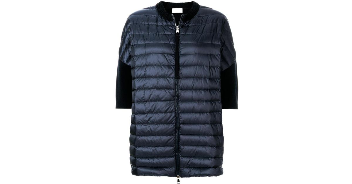 0176f6c9bb Lyst - Moncler Short Sleeve Padded Front Cardigan in Blue