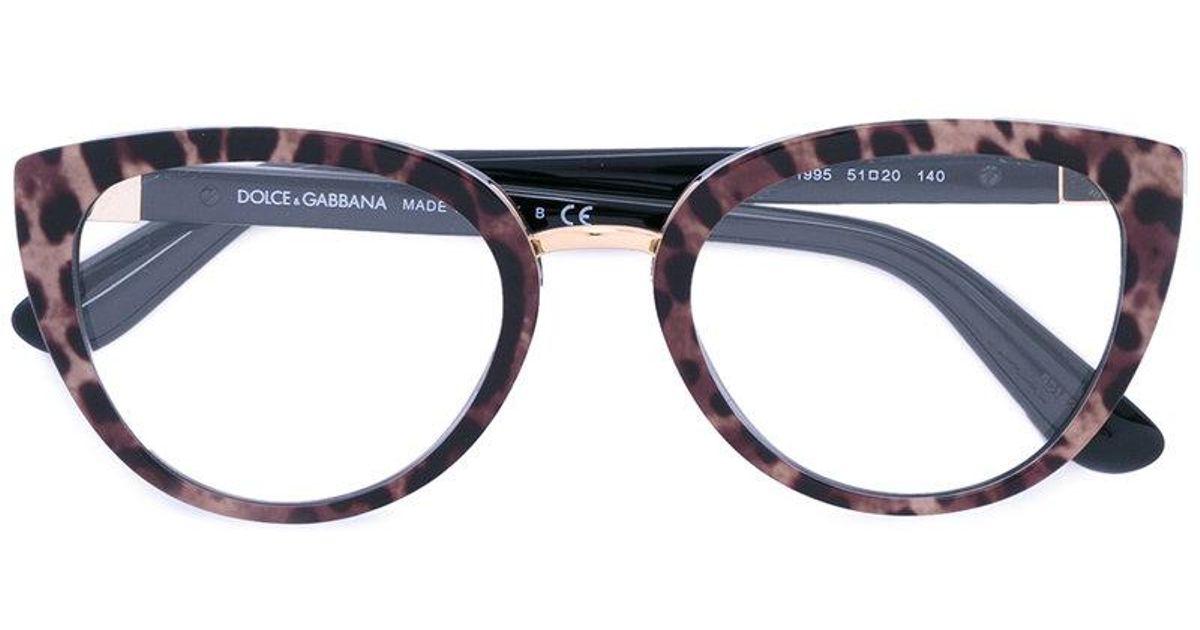 68c92714faf Lyst - Dolce   Gabbana Leopard Print Glasses in Black