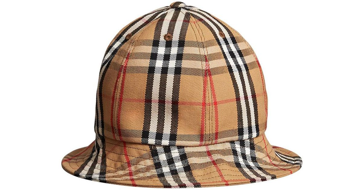 4ce31209a6a Burberry Vintage Check Bucket Hat in Brown - Lyst