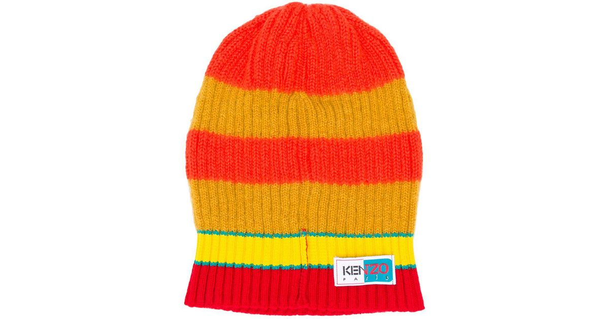 ce8bcc83e98 KENZO Striped Beanie in Yellow for Men - Save 48% - Lyst