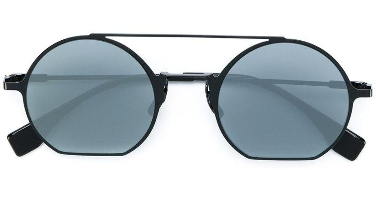 9b7554a724195 Fendi Round Double Bridge Sunglasses in Black for Men - Lyst