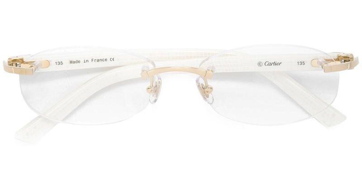 696d0e304c6 Lyst - Cartier  décor C  Optical Glasses in White